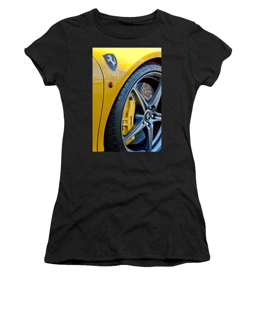 Ferrari Side Emblem Women's T-Shirt (Athletic Fit) featuring the photograph Ferrari Side Emblem by Jill Reger