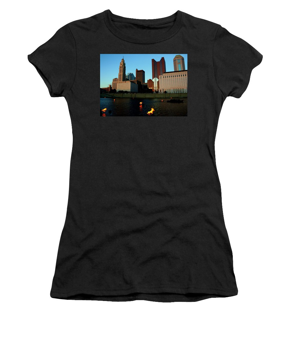 Fire Women's T-Shirt featuring the photograph Fire On The River by Laurel Talabere