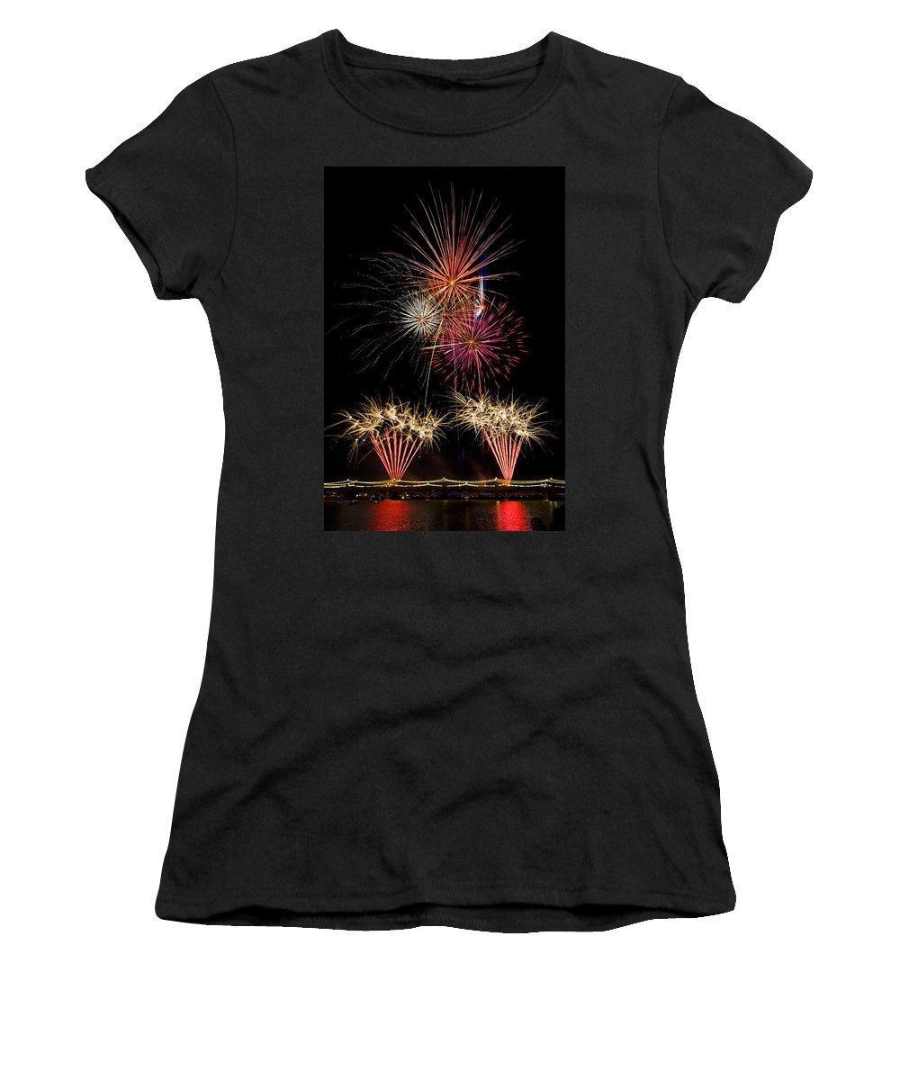 July 4th Women's T-Shirt featuring the photograph Fireworks by Saija Lehtonen