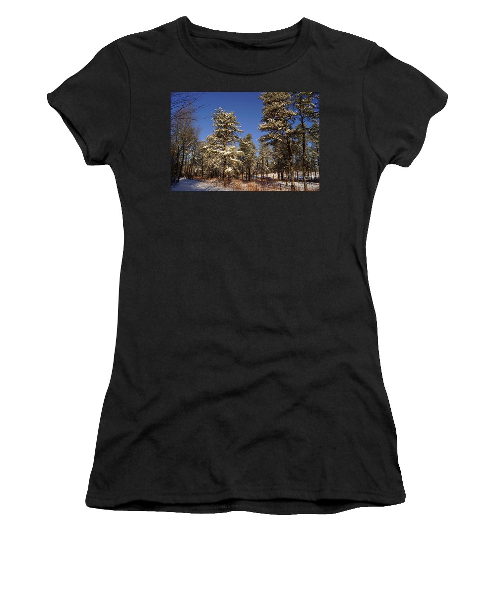 Winter Women's T-Shirt featuring the photograph First Snow by Jeffery L Bowers
