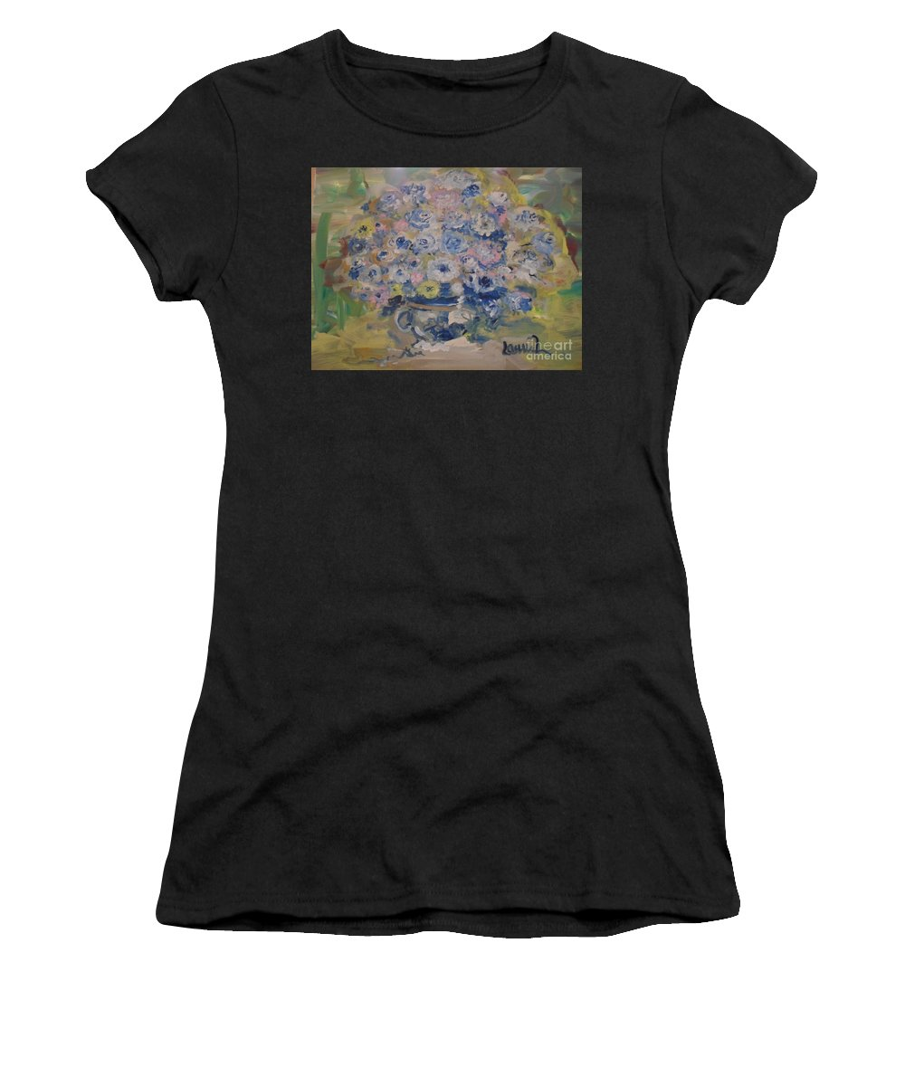 Flowers Women's T-Shirt (Athletic Fit) featuring the painting Flow Bleu by Laurie Lundquist
