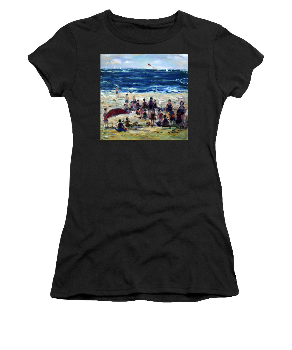 Kite Beach People Children Umbrella Waves Sailboats Women's T-Shirt featuring the painting Flying A Kite At The Beach by Adel Sansur