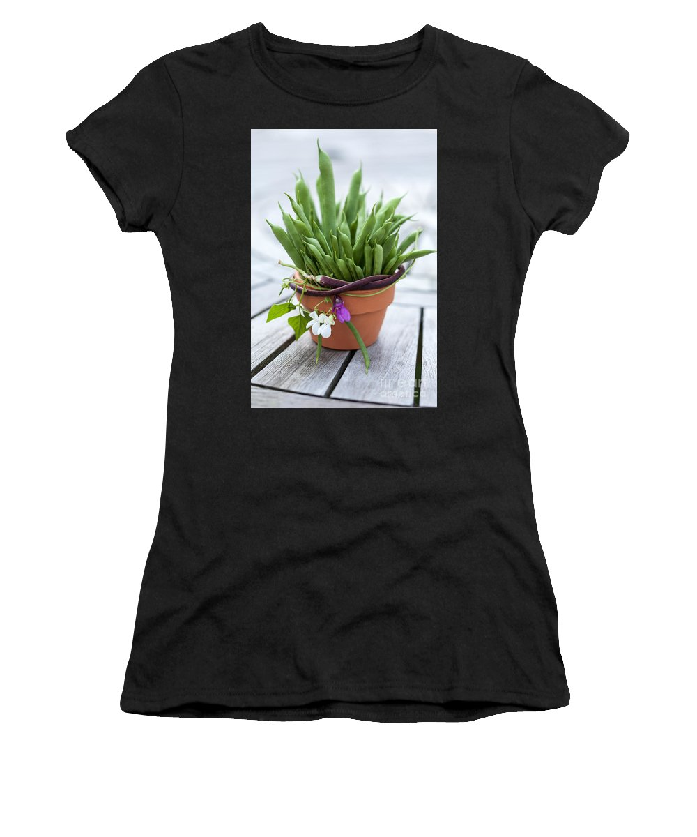 Green Beans In Pot Women's T-Shirt featuring the photograph Green Beans In Pot by Iris Richardson