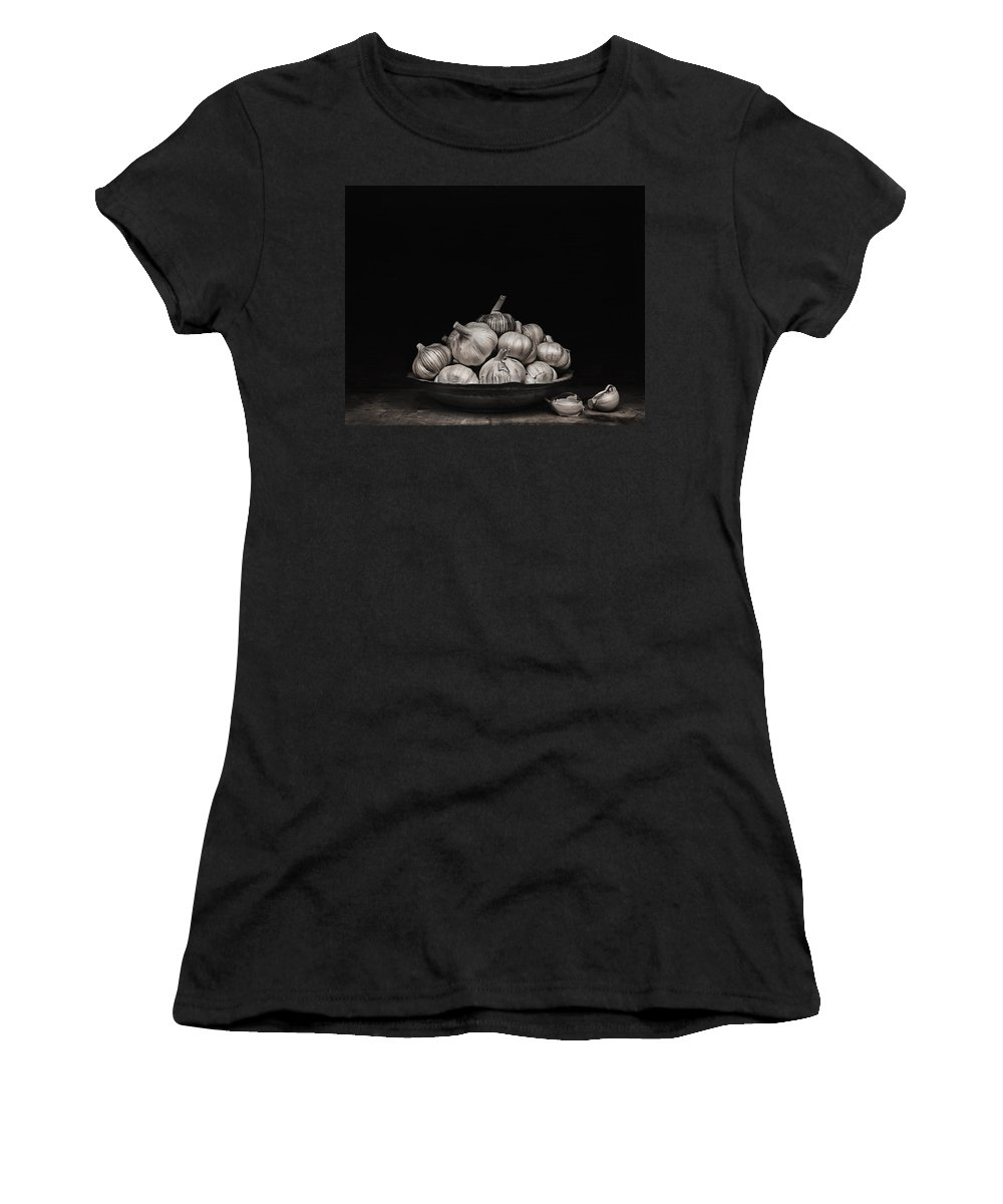 Food Women's T-Shirt (Athletic Fit) featuring the photograph Garlic by Theresa Tahara