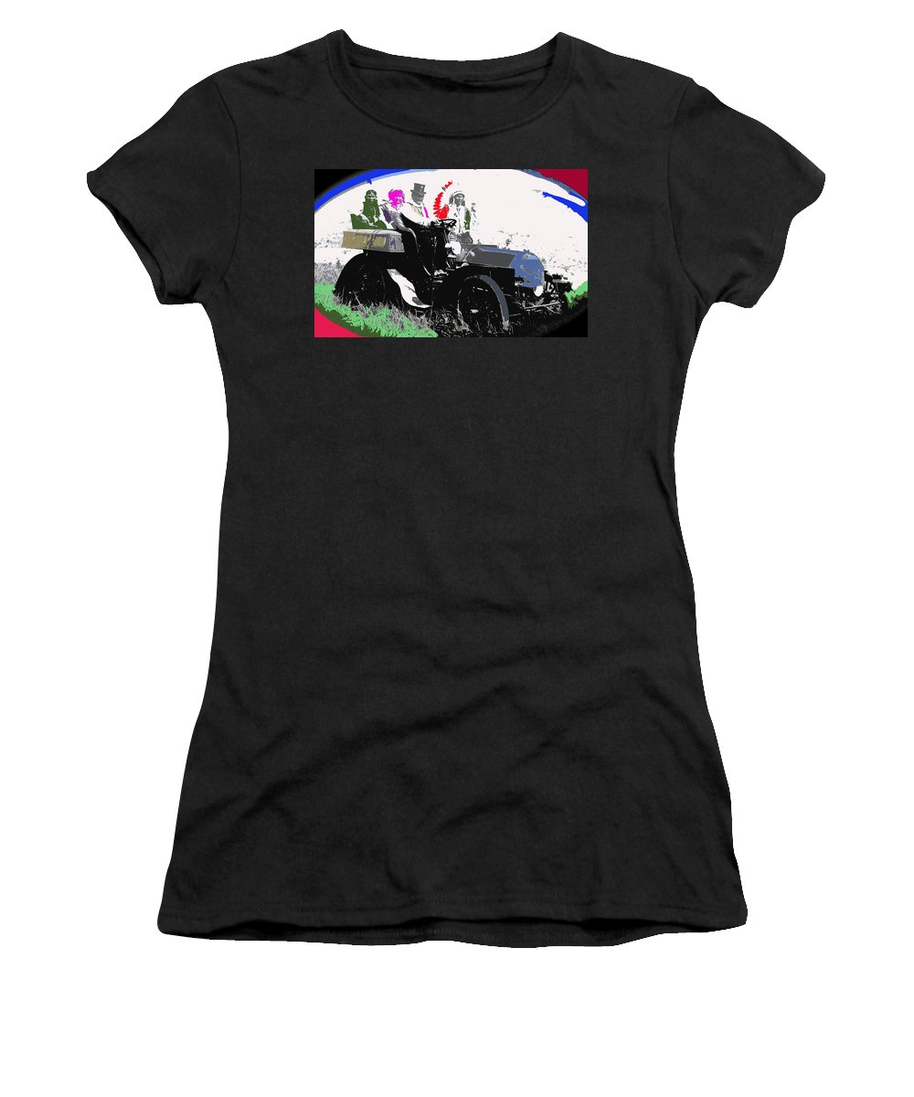 Geronimo At The Wheel 1904 Locomobile Model C Touring Car On The 101 Ranch In Oklahoma 1905 Women's T-Shirt (Athletic Fit) featuring the photograph Geronimo At The Wheel 1904 Locomobile Model C Touring Car On The 101 Ranch In Oklahoma 1905 by David Lee Guss
