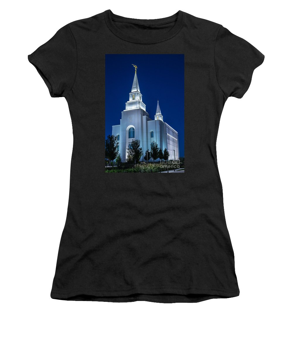 Cathedral Women's T-Shirt (Athletic Fit) featuring the photograph Glowing Cathedral by Terri Morris