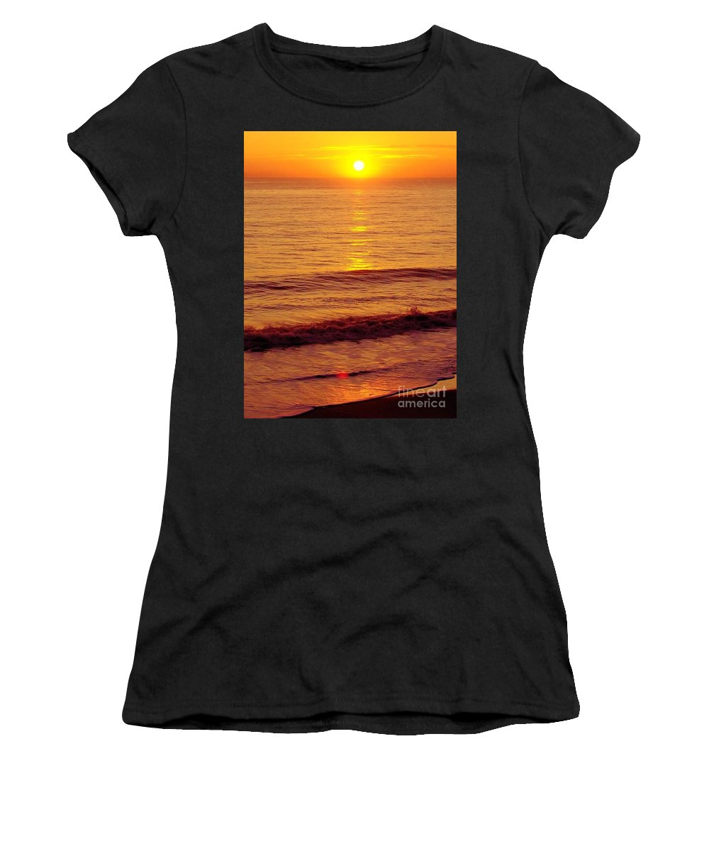 Sunrise Women's T-Shirt (Athletic Fit) featuring the photograph Golden - Sunrise by D Hackett