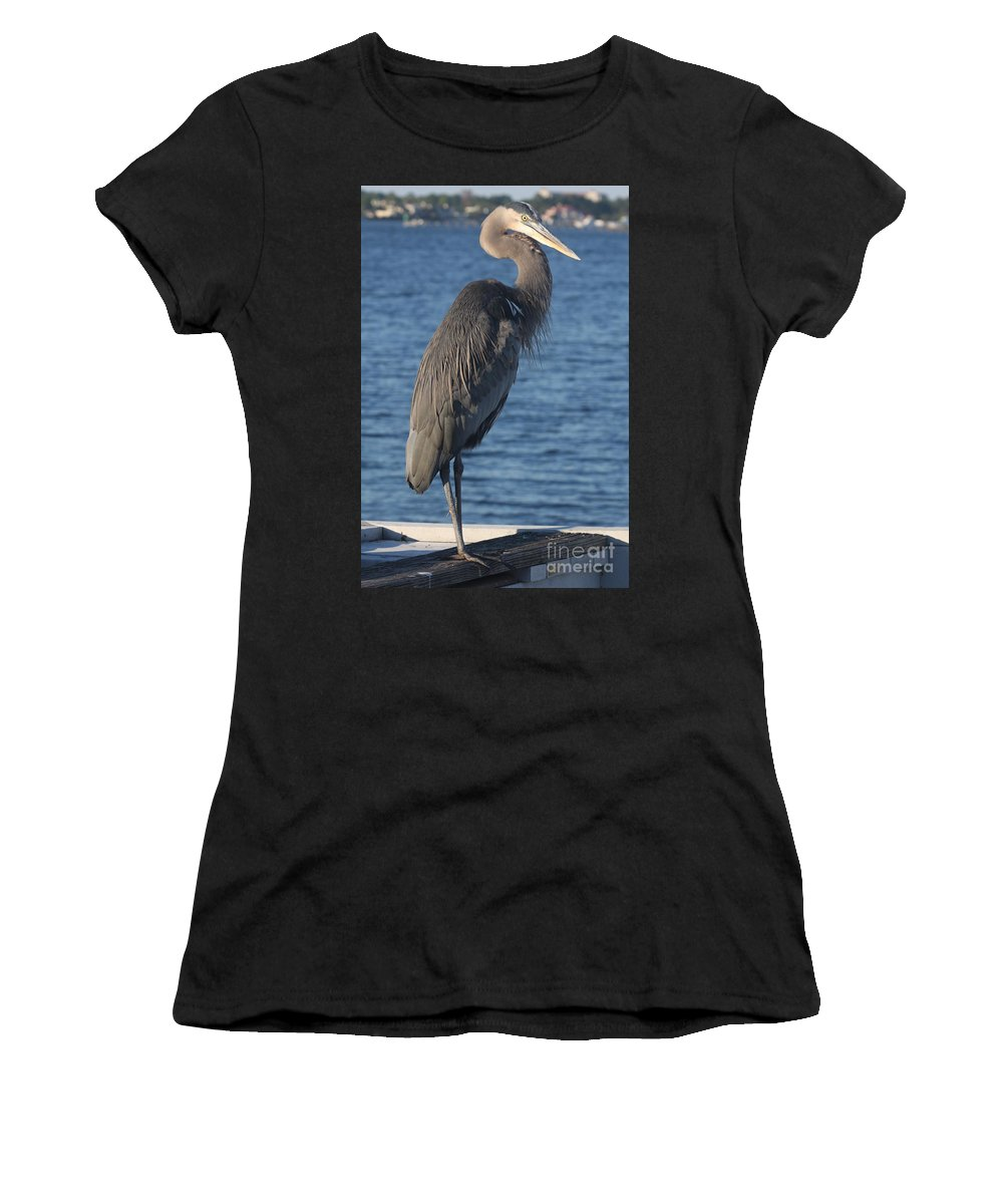 Heron Women's T-Shirt (Athletic Fit) featuring the photograph Great Blue Heron by Christiane Schulze Art And Photography
