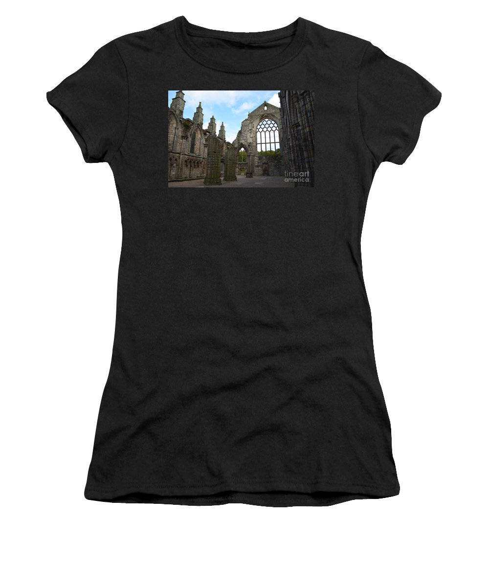 Holyrood Women's T-Shirt (Athletic Fit) featuring the photograph Holyrood Abbey Ruins by DejaVu Designs