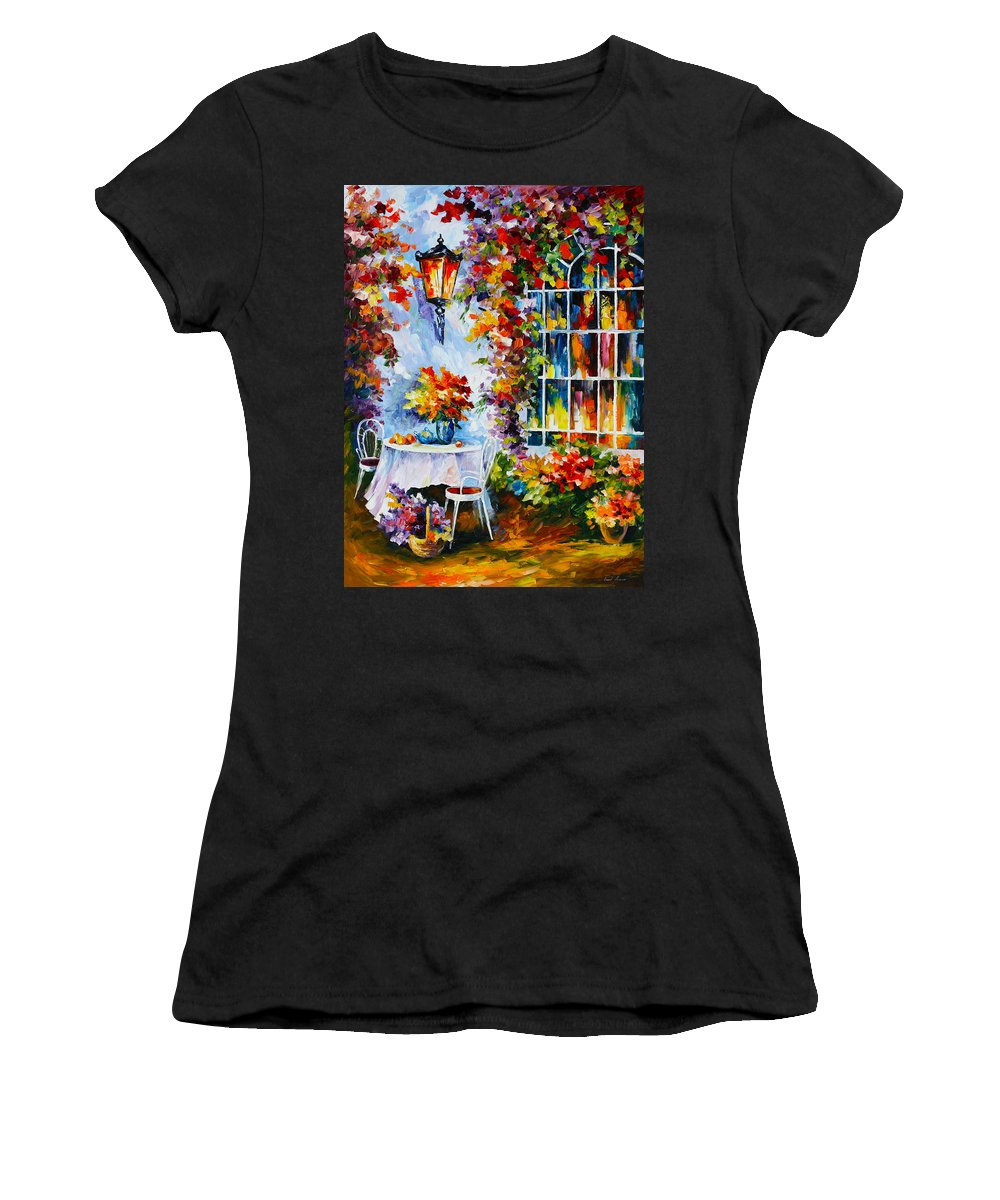 Garden Women's T-Shirt (Athletic Fit) featuring the painting In The Garden by Leonid Afremov