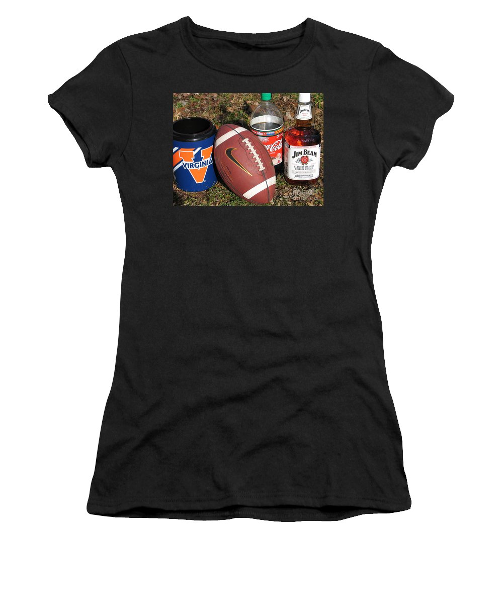 Football Women's T-Shirt (Athletic Fit) featuring the photograph Jim Beam Coke And Football by Jason O Watson