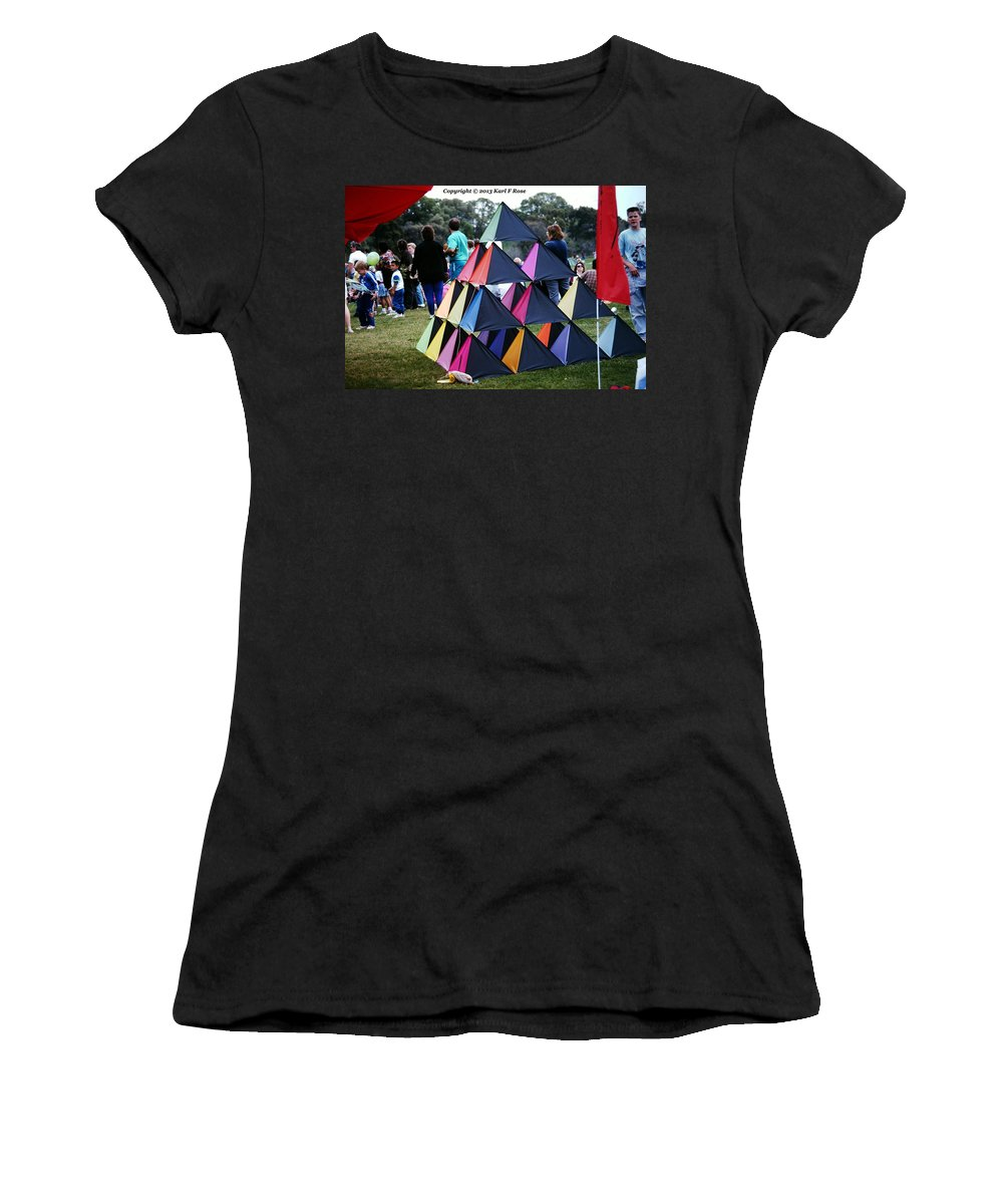 Kites Women's T-Shirt (Athletic Fit) featuring the photograph Kite Show by Karl Rose