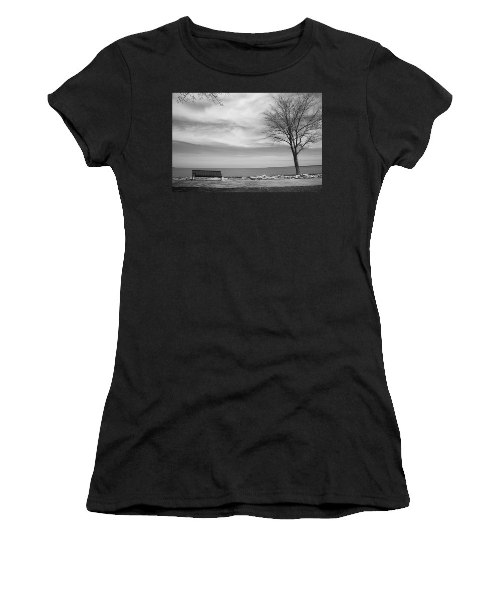 Art Women's T-Shirt (Athletic Fit) featuring the photograph Lake Tree And Park Bench by Frank Romeo
