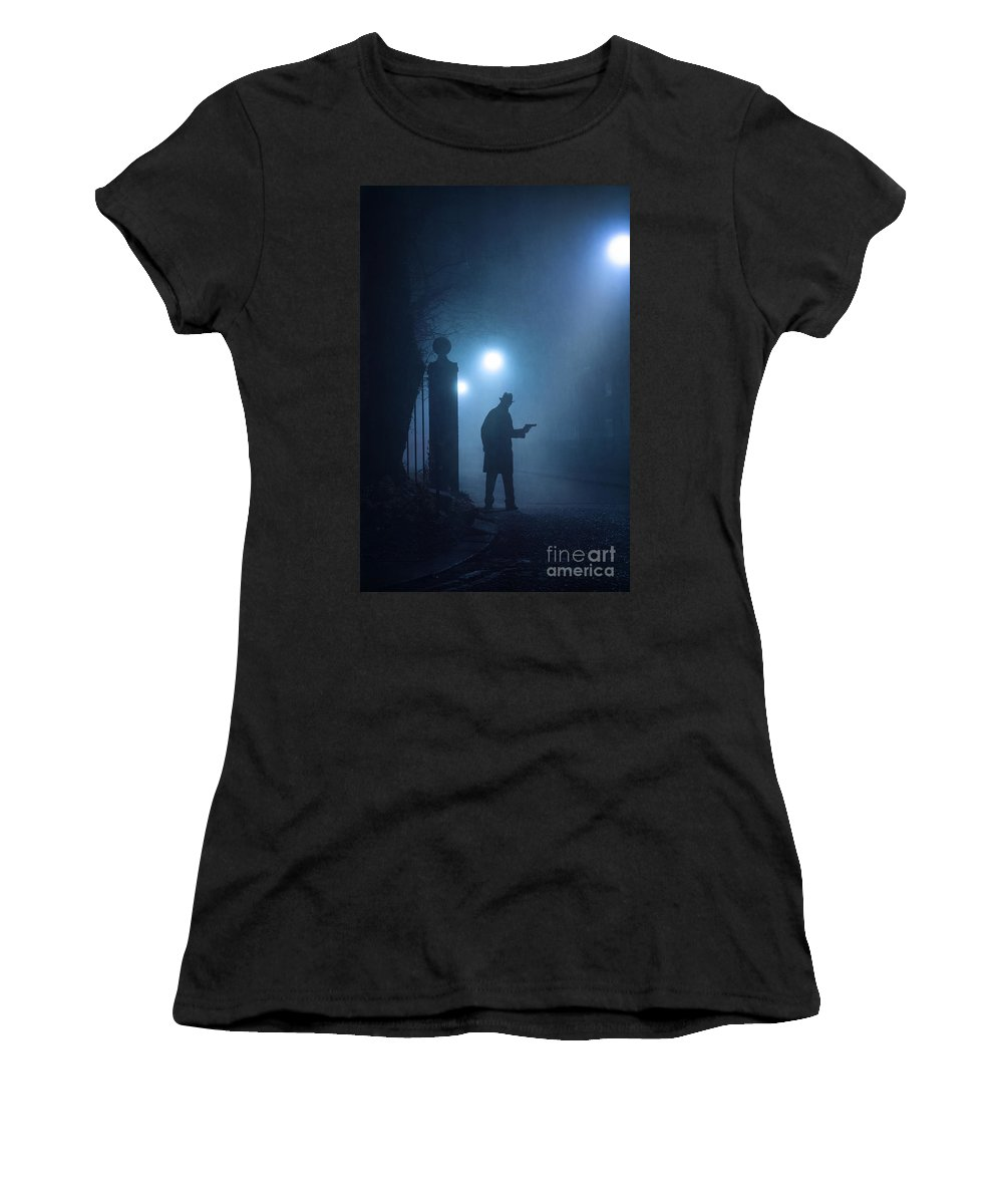 Gunman Women's T-Shirt featuring the photograph Lone Gunman In Fog At Night by Lee Avison