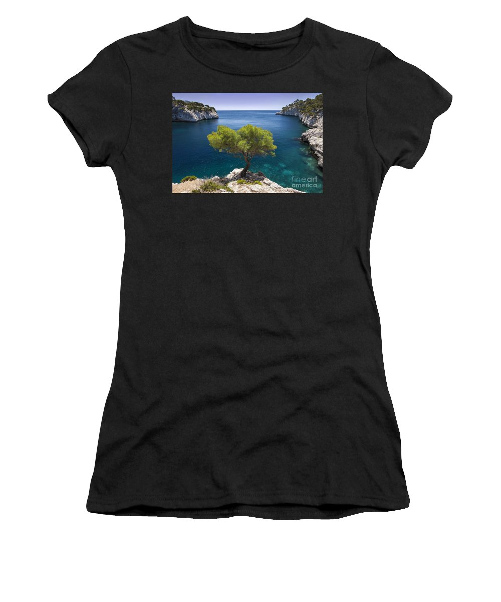 Calanque Women's T-Shirt (Athletic Fit) featuring the photograph Lone Pine Tree by Brian Jannsen