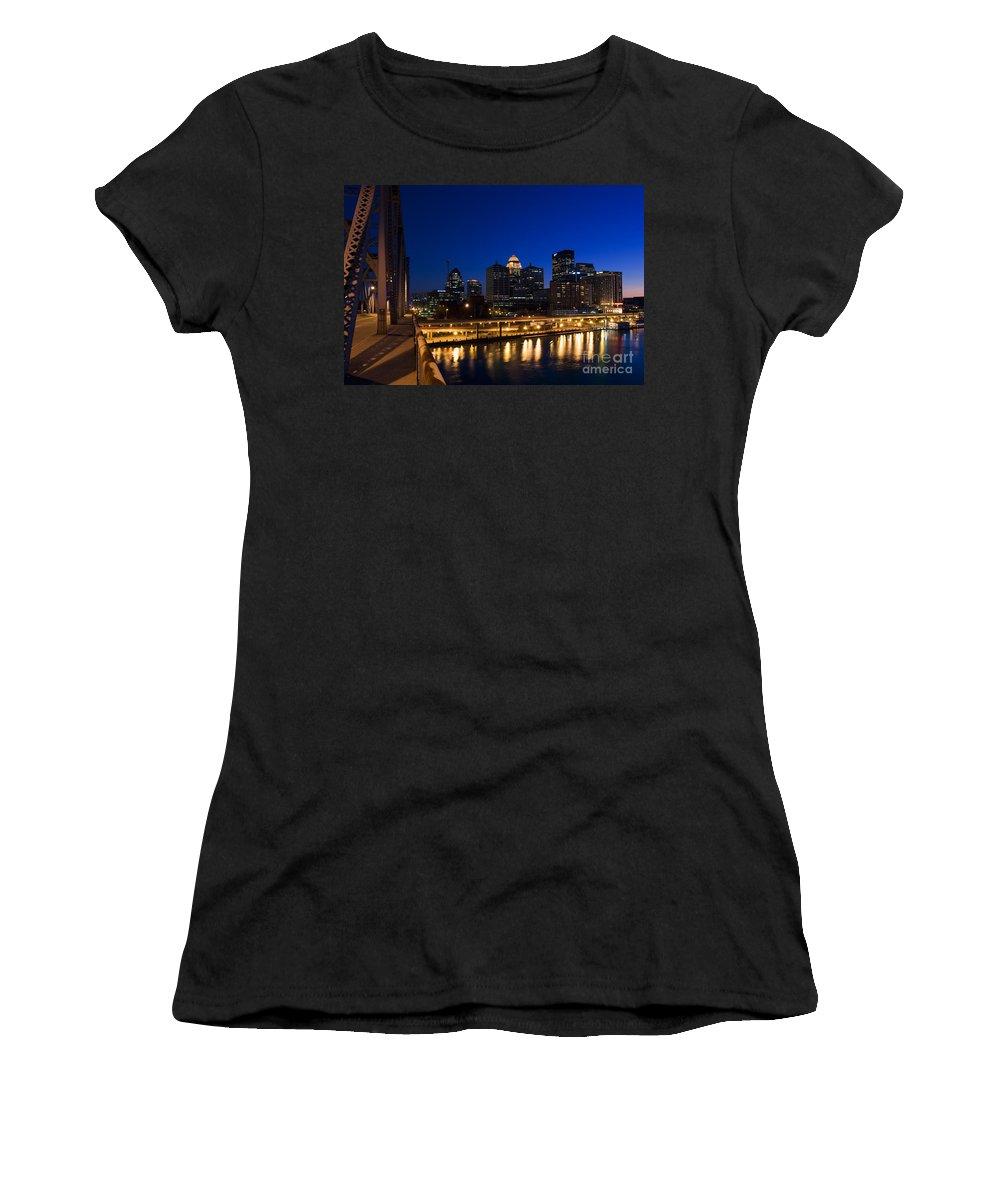 After Dark Women's T-Shirt (Athletic Fit) featuring the photograph Louisville, Kentucky by David Davis