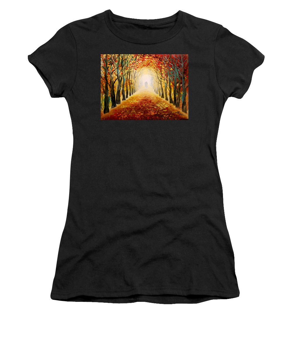 Love Women's T-Shirt (Athletic Fit) featuring the painting Love by Leon Zernitsky
