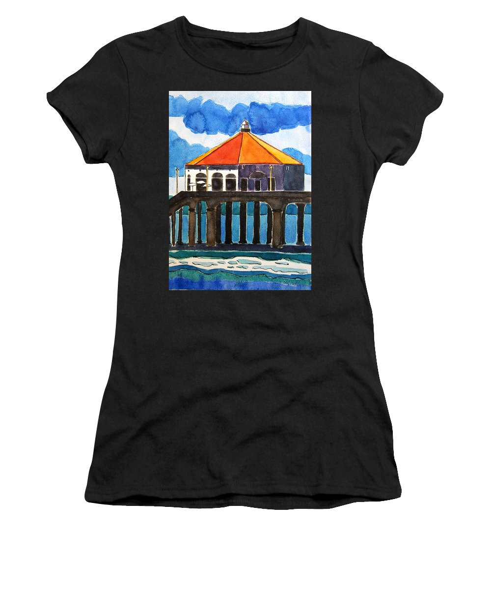 Manhattan Beach Women's T-Shirt (Athletic Fit) featuring the painting Manhattan Beach California by Lesley Giles