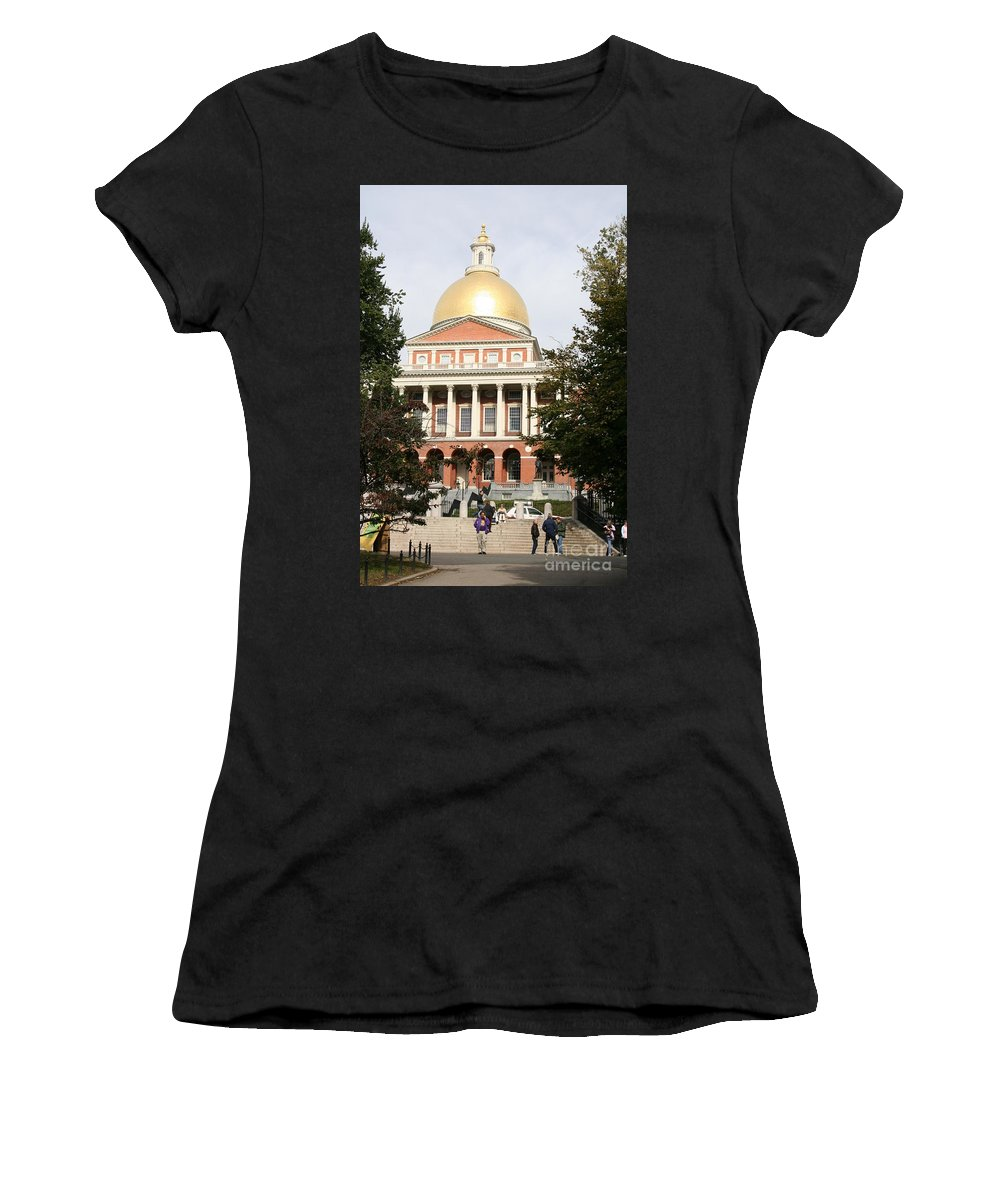 Boston Women's T-Shirt featuring the photograph Massachusetts State House - Boston by Christiane Schulze Art And Photography