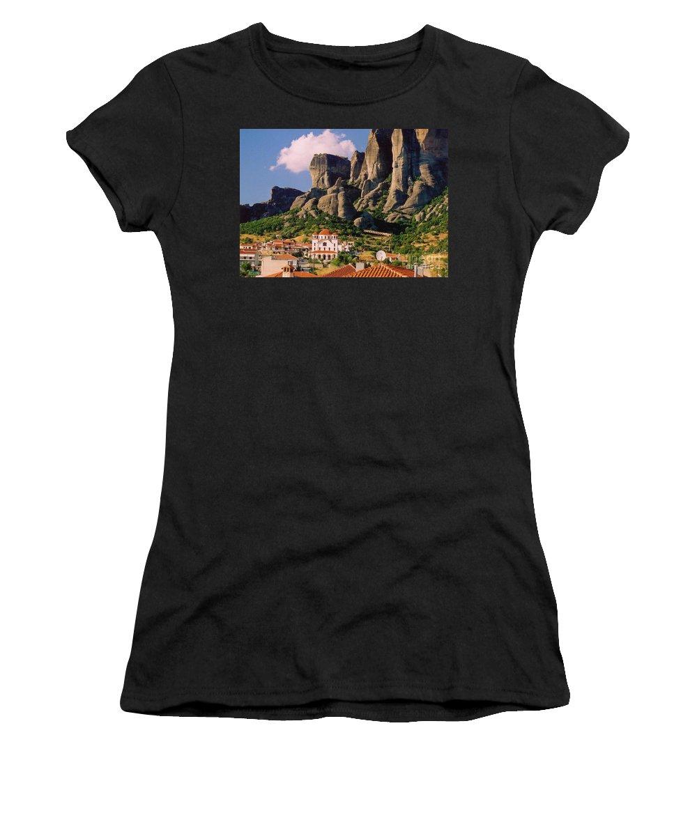 Meteora Greece Women's T-Shirt featuring the photograph Meteora Greece by John Malone