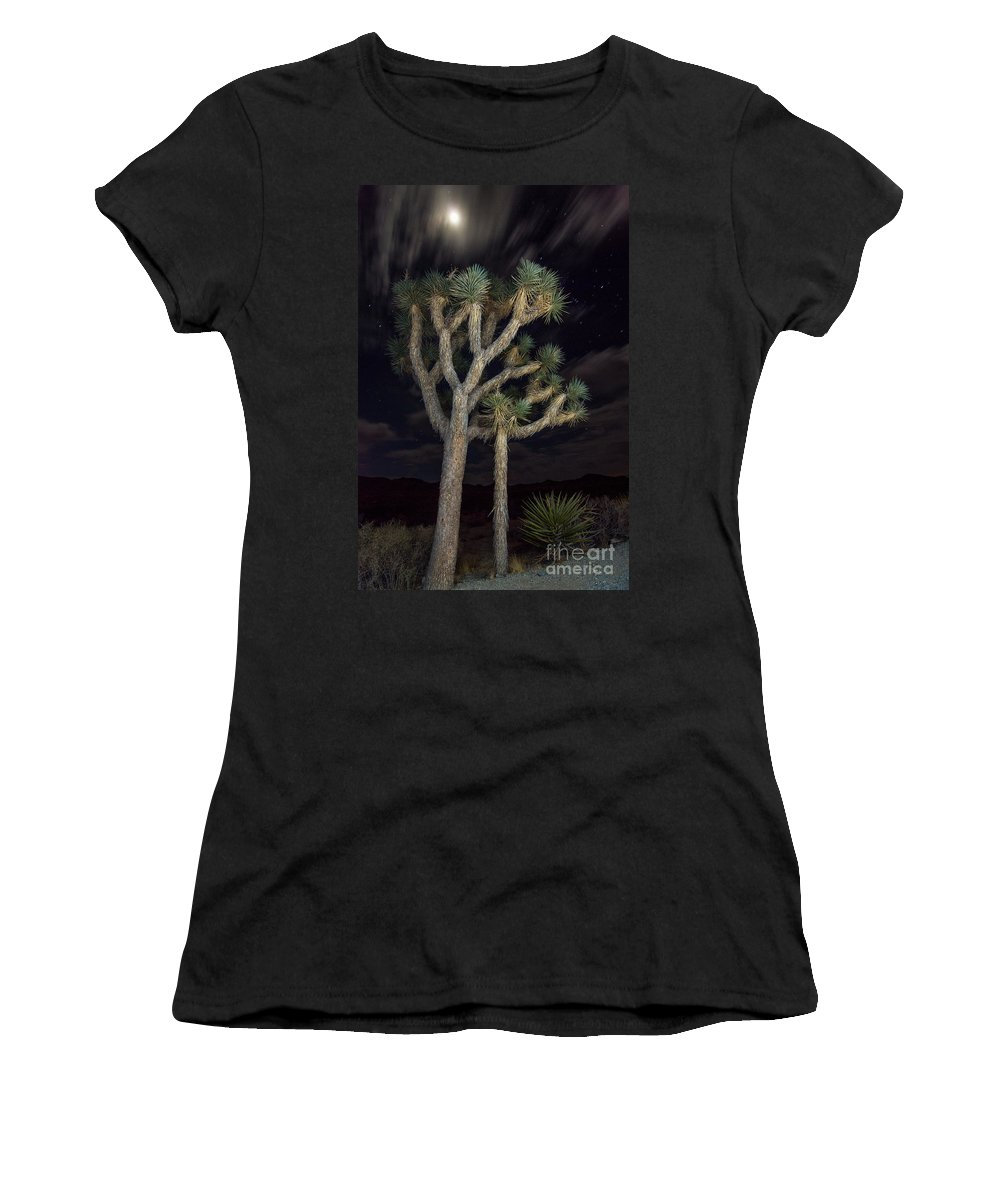 Joshua Tree Women's T-Shirt featuring the photograph Moon Over Joshua - Joshua Tree National Park In California by Jamie Pham