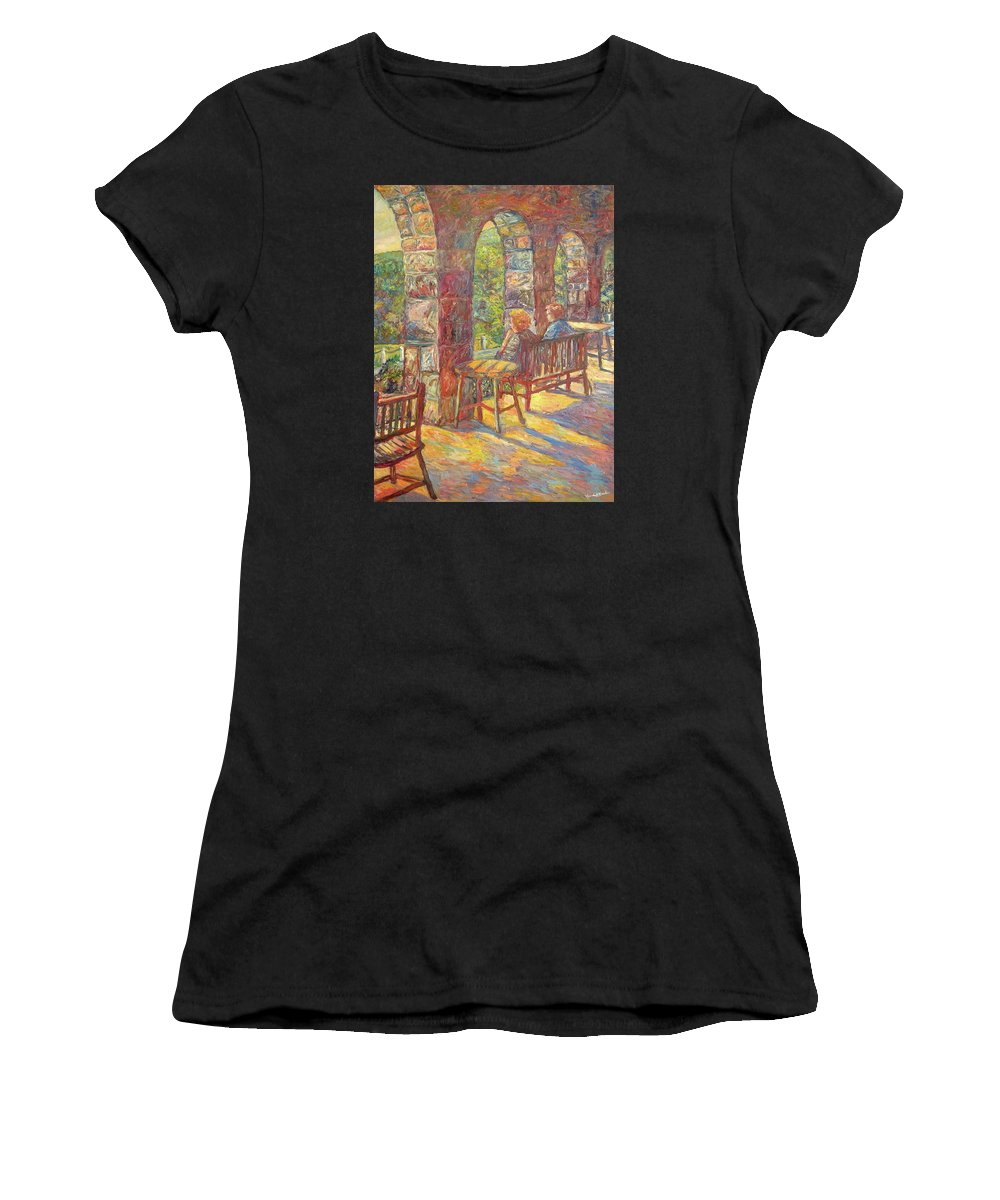 Mountain Lake Women's T-Shirt (Athletic Fit) featuring the painting Mountain Lake Evening by Kendall Kessler