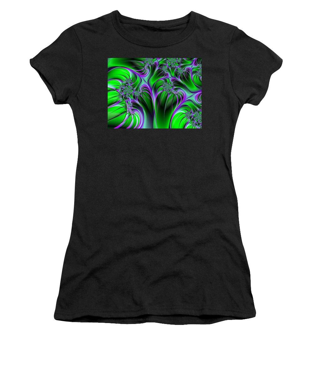 Digital Art Women's T-Shirt featuring the digital art Neon Fantasy by Gabiw Art
