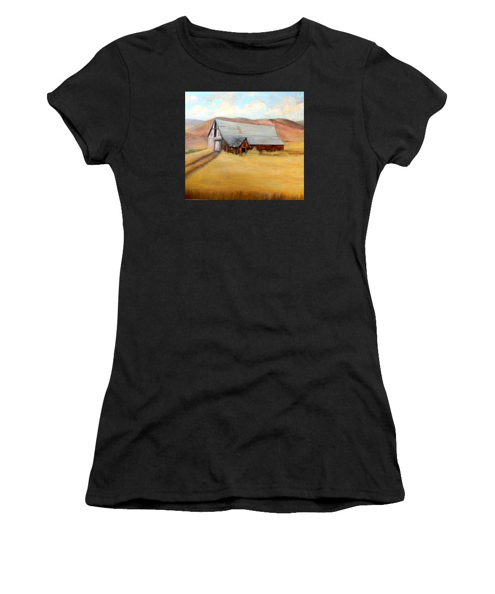 Nevada Women's T-Shirt (Athletic Fit) featuring the painting Nevada Barn by Judie White