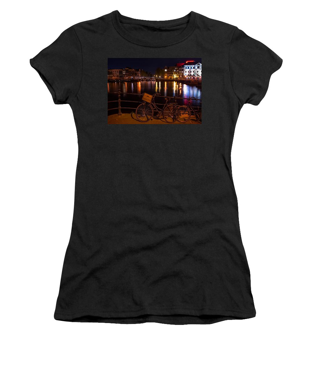 Amsterdam Women's T-Shirt featuring the photograph Night Lights On The Amsterdam Canals. Holland by Jenny Rainbow