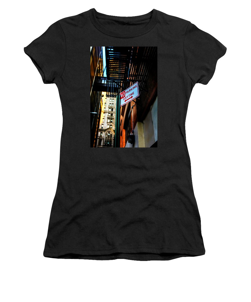 Streets Of New York Women's T-Shirt (Athletic Fit) featuring the photograph No Parking by Digital Kulprits
