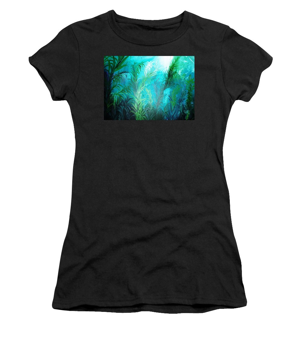 Ocean Women's T-Shirt (Athletic Fit) featuring the painting Ocean Plants by Rupa Prakash