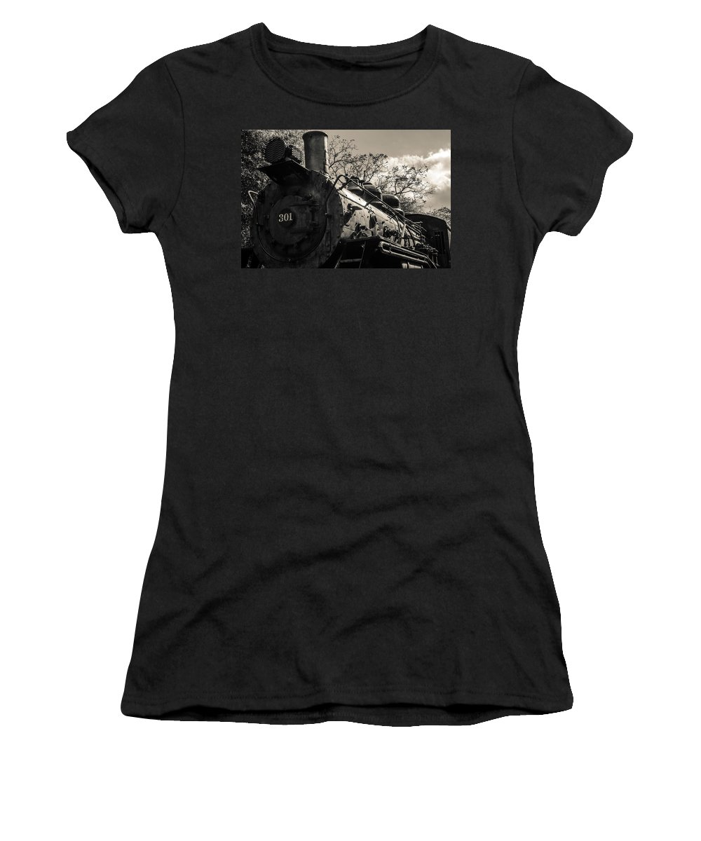 Antique Women's T-Shirt (Athletic Fit) featuring the photograph Old Black Locomotive Engine Details by Alex Grichenko