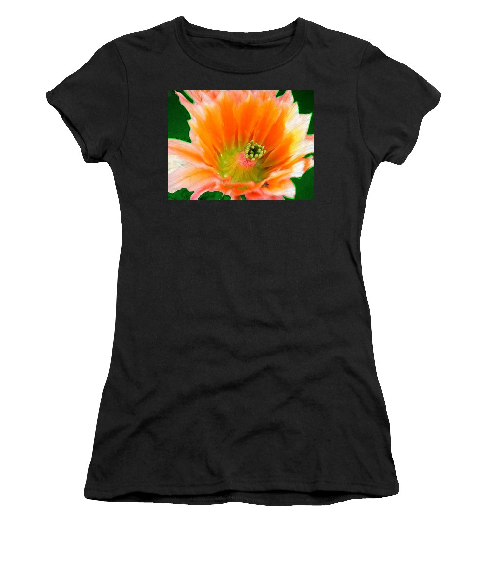 Flower Women's T-Shirt (Athletic Fit) featuring the painting Orange Cactus Flower by Bruce Nutting