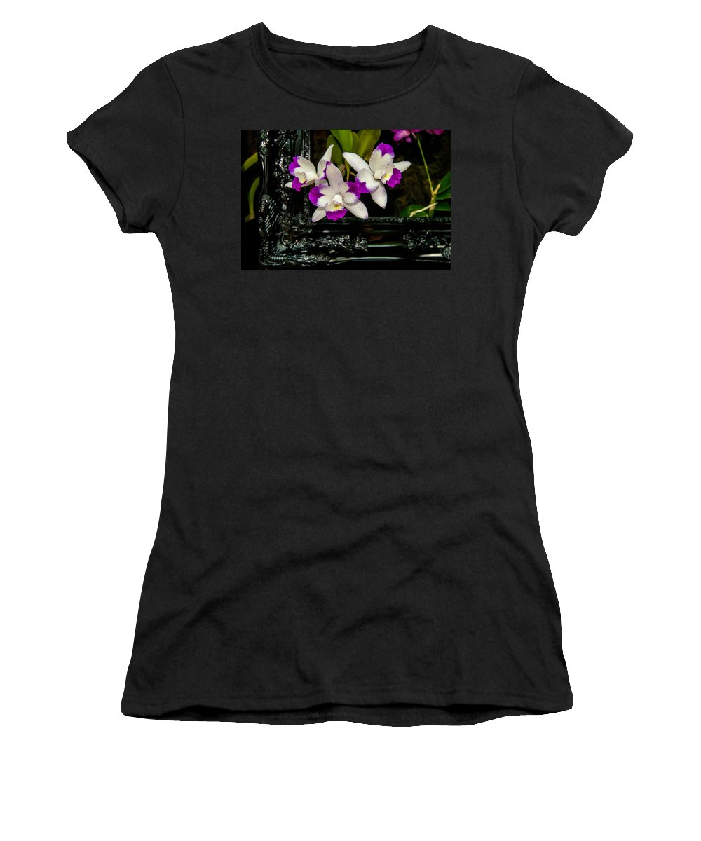 View Women's T-Shirt (Athletic Fit) featuring the photograph Orchid Flowers Growing Through Old Wooden Picture Frame by Alex Grichenko