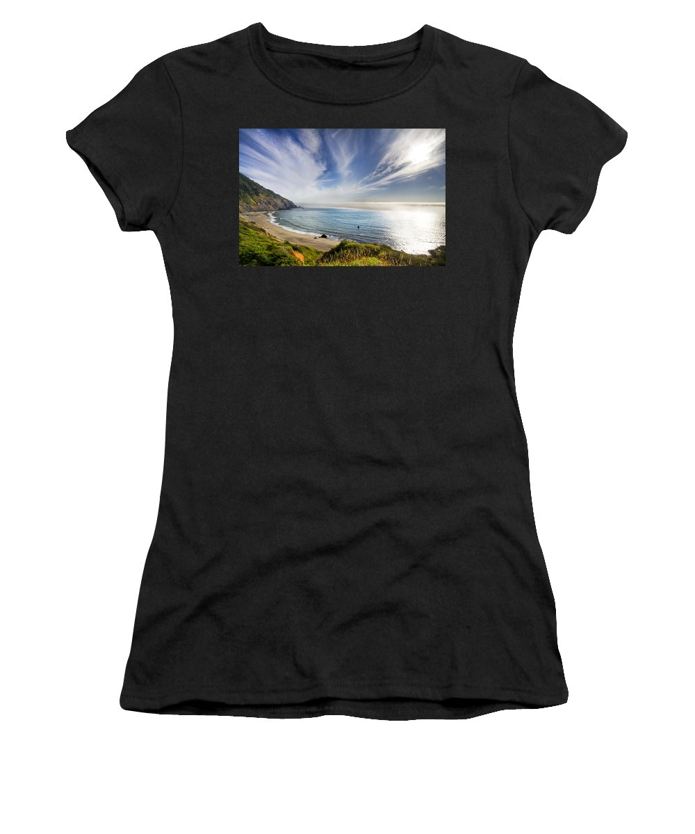 Clouds Women's T-Shirt (Athletic Fit) featuring the photograph Oregon Coastline by Debra and Dave Vanderlaan