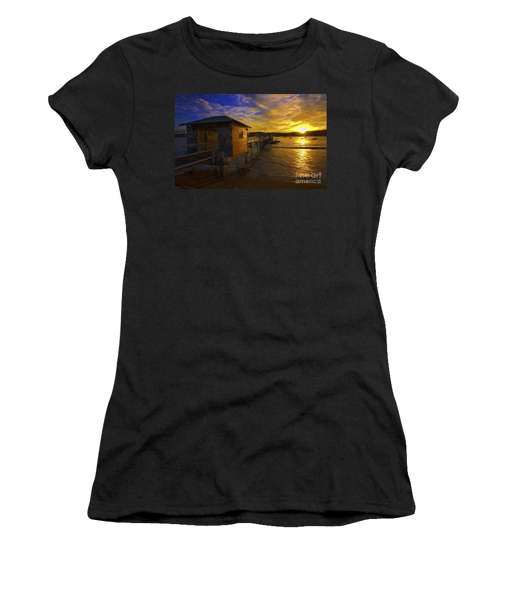 Palm Beach Women's T-Shirt (Athletic Fit) featuring the photograph Palm Beach Sunset by Sheila Smart Fine Art Photography