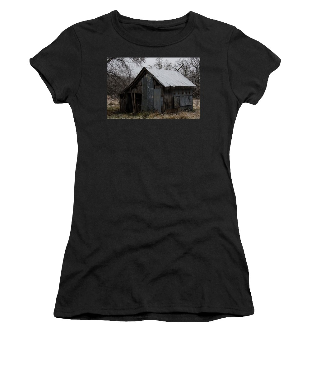 Barn Women's T-Shirt (Athletic Fit) featuring the photograph Patchwork Barn With Icicles by Linda Shannon Morgan