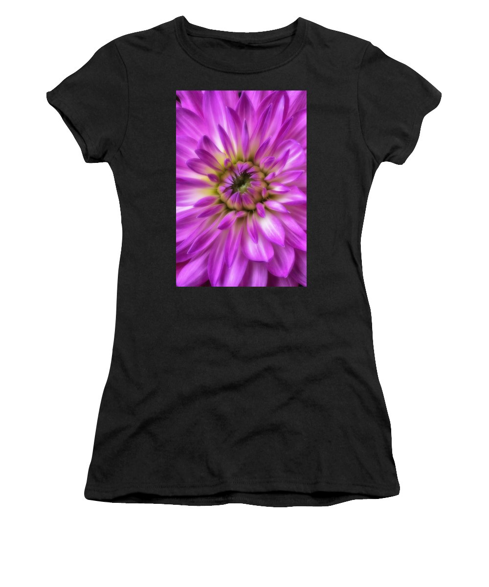 Pink Moody Women's T-Shirt featuring the photograph Pink Dahlia Close Up by Garry Gay