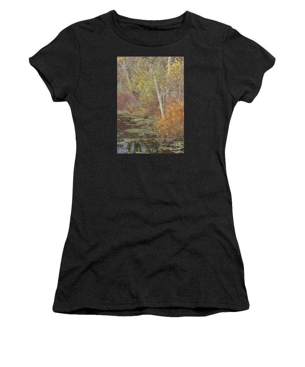 Autumn Women's T-Shirt featuring the photograph Pondside Pastel by Ann Horn