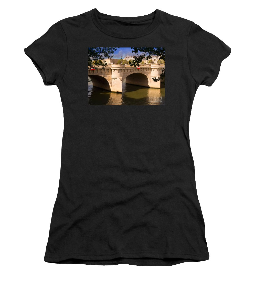 Pont Neuf Women's T-Shirt featuring the photograph Pont Neuf Over The Seine River Paris by Louise Heusinkveld