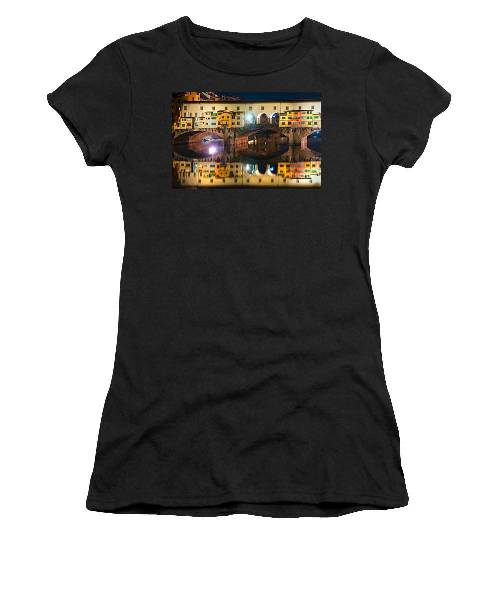 Ancient Women's T-Shirt (Athletic Fit) featuring the photograph Ponte Vecchio - Florence by Luciano Mortula
