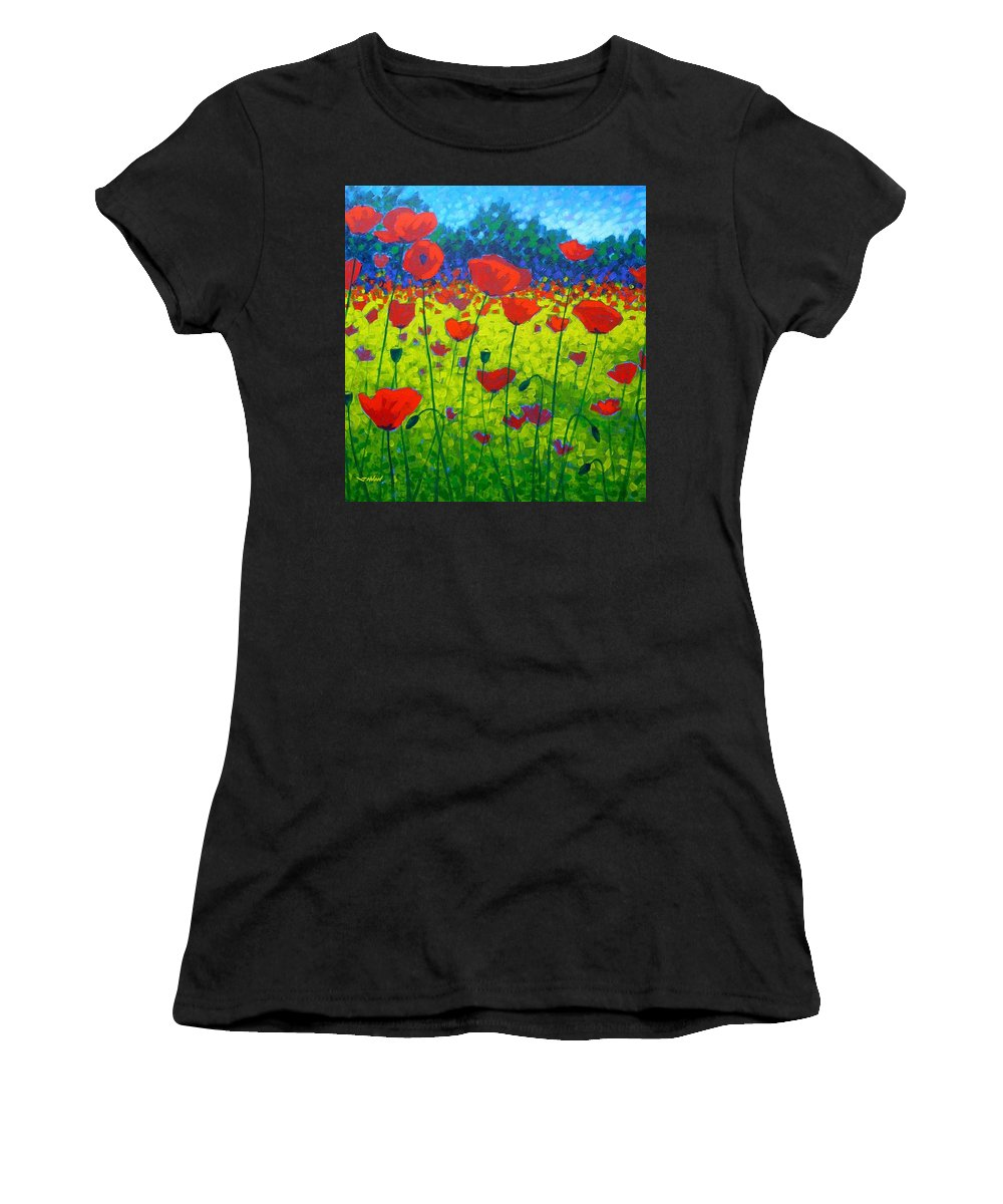 Flowers Women's T-Shirt (Athletic Fit) featuring the painting Poppy Field by John Nolan