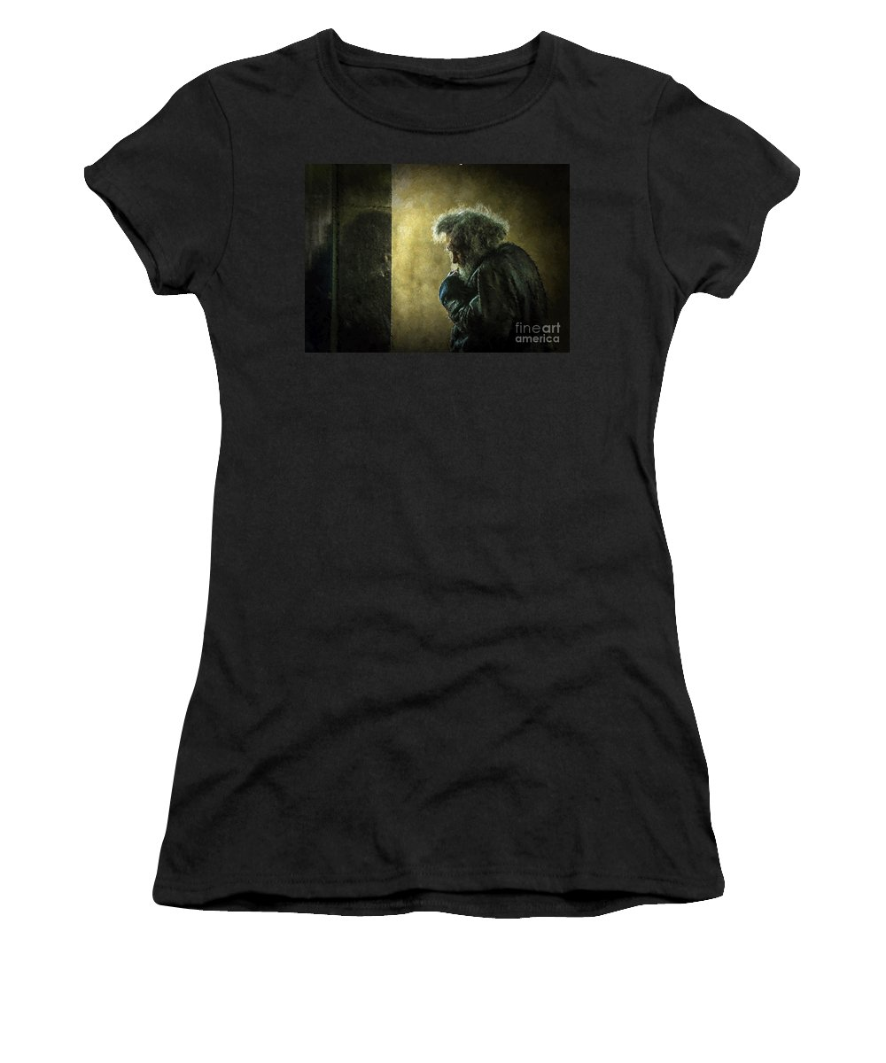 Homeless Women's T-Shirt featuring the photograph Portrait Of The Homeless by Sheila Smart Fine Art Photography