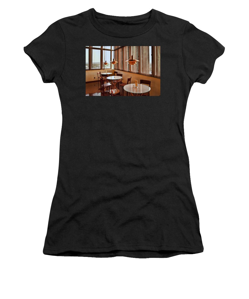 The Price Tower Is A Nineteen-story Women's T-Shirt featuring the photograph Price Tower Interior by Diana Powell