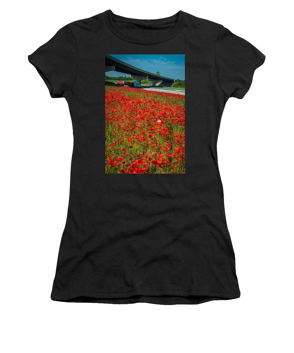 Freeway Women's T-Shirt (Athletic Fit) featuring the photograph Red Poppy Field Near Highway Road by Alex Grichenko