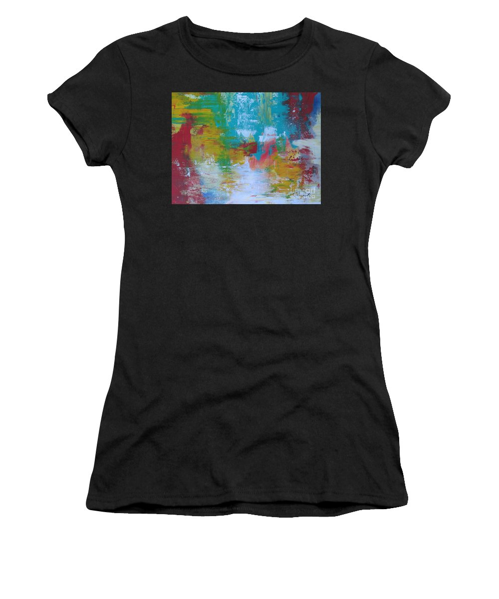 Abstract Women's T-Shirt (Athletic Fit) featuring the painting Reflections by Augusta Lourenco- Dias