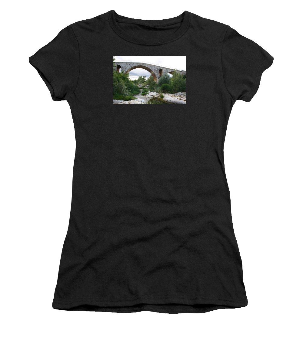 Roman Stonebridge Women's T-Shirt (Athletic Fit) featuring the photograph Roman Arch Bridge Pont St. Julien by Christiane Schulze Art And Photography