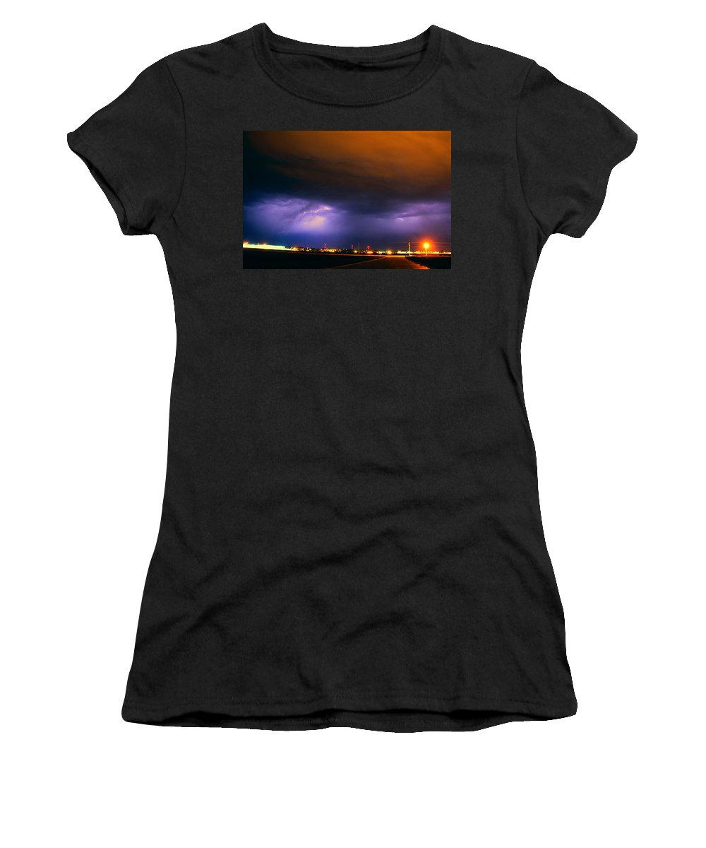 Stormscape Women's T-Shirt featuring the photograph Round 2 More Late Night Servere Nebraska Storms by NebraskaSC
