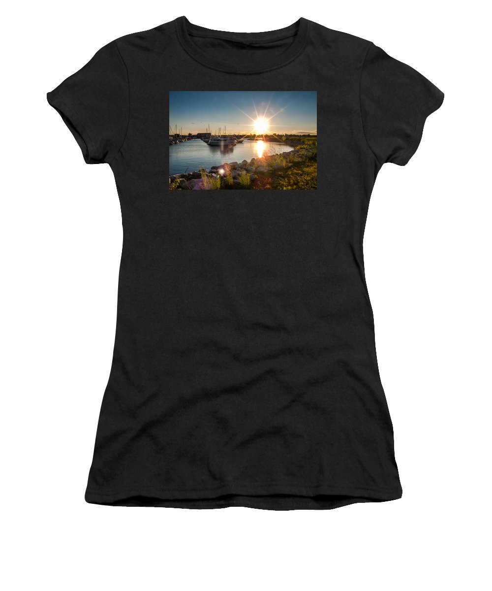 Sunset Women's T-Shirt (Athletic Fit) featuring the photograph Sailboat Pier In Lake Michigan Nature Scenary Near Racine Wisconsin by Jiayin Ma