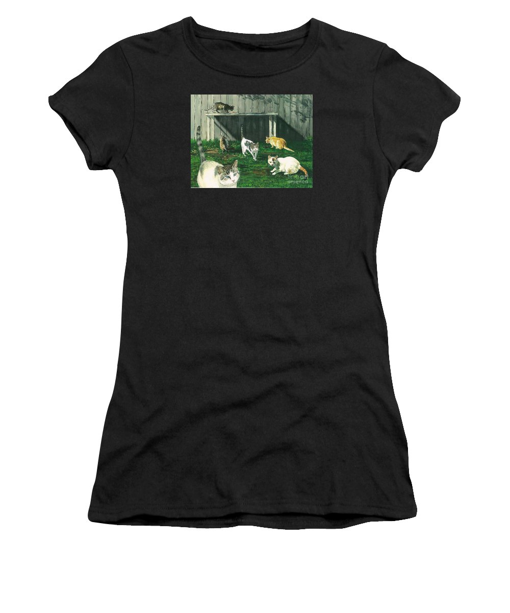 Print Women's T-Shirt featuring the painting Six Cats by Margaryta Yermolayeva